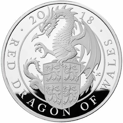 2 Pfund 2018 Queens Beasts Red Dragon of Wales Silber