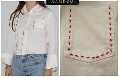 Vtg 70´s SHIRT white + minimal embroiderie BELLED POCKET made in France CHIC