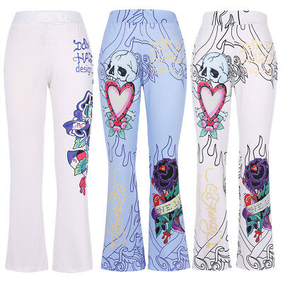 US STOCK Trouser Women Pant Skull Print Mid Waist Flare Palazzos Pants SALE 5XL