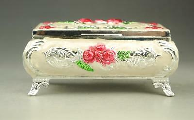 chinese exquisite hand engraving  red rose jewel case storage box