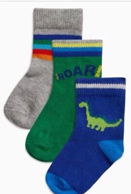 Bnwt NEXT Baby Boys Socks 3 Pairs 6-12 Months Old Dinosaur Theme