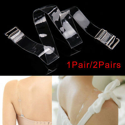 1/2/4 Pairs Adjustable Detachable Transparent Clear Bra Straps Metal Hook