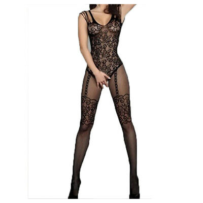 New Sexy Much-loved Floral Motif Mesh Body Stockings one size (Black)
