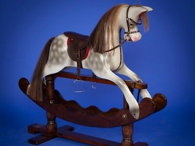 Large Dapple Grey Rocking Horse By Ian Armstrong Can Store For Christmas