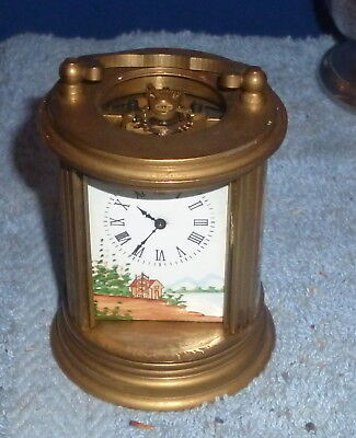 MINIATURE Brass Carriage Clock  WITH Hand Painted PANELS NO RESERVE
