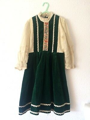 Vintage Girls Paula Lee 1950s Party Xmas Green Tapestry Retro Dress 4 5 Y