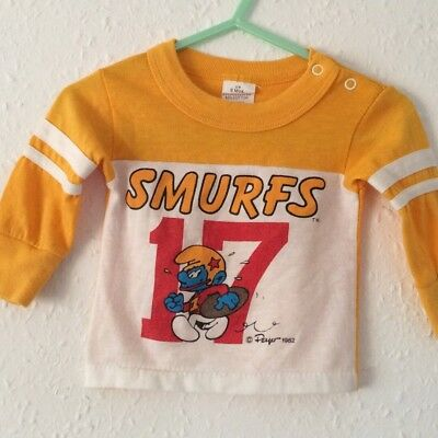 Vintage Kids Smurfs RARE Graphic T Shirt Novelty Kitsch TV Collectors Top 6 M
