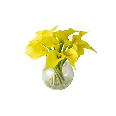 Artificial Yellow Calla Lily Lilies Flower Arrangement Vase Centrepiece Plant