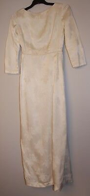 VERY SMALL SIZE ORIGINAL VINTAGE 1960s WHITE WEDDING BROCADE DRESS