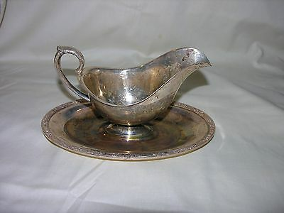 VINTAGE Silver Plated Spout Gravy Boat w/ attached tray