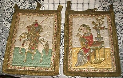 2 x ANTIQUE EMBROIDERED/QUILTED PICTORIAL FABRIC PANEL WALL HANGINGS 30x22cm