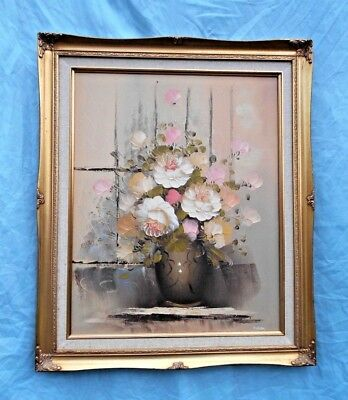 "FRAMED & SIGNED CONTEMPORARY STILL LIFE OIL PAINTING ON CANVAS 24 1/2"" x 20 1/2"""