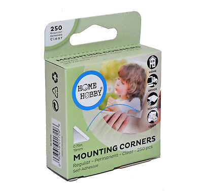 3L 250 Mounting Photo Corners Permanent Clear Self-Adhesive Large 19mm Corners