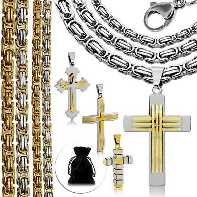 1 Stainless Steel Necklace + 1 Pendant Cross Silver Gold Mens Chain Curb Link