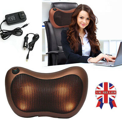Electric Lumbar Neck Back Massage Pillow Cushion Massager with Heat Car Home