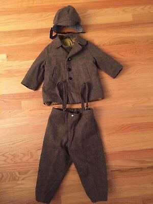 Vintage 3 Piece Toddler Boys Brown Wool Coat  Hat  Pants 1950's Size 2