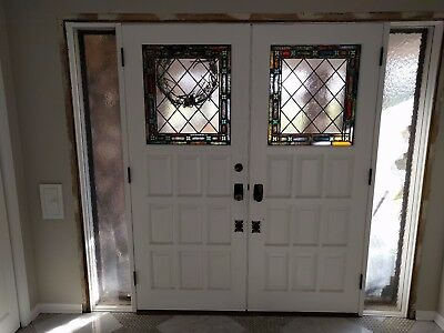 Double Front Door with Stained Glass