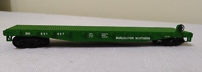 ho model train tyco 50ft burlington north flat car