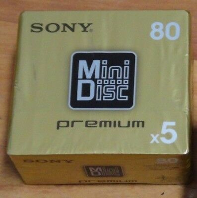 5 Stück SONY PREMIUM MiniDisc 80 min MD mdw80pr - OVP - Made in Japan