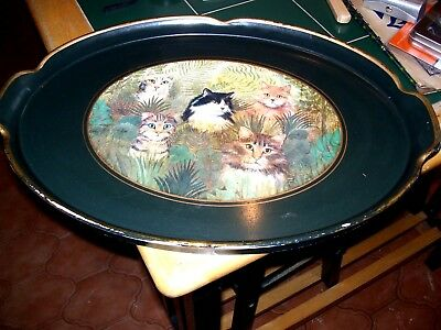 Antique Edwardian Tray With Cats Picture  20 Inches By 14 Inches