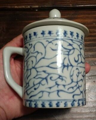 Vintage Chinese Tea Cup Lidded Blue and White
