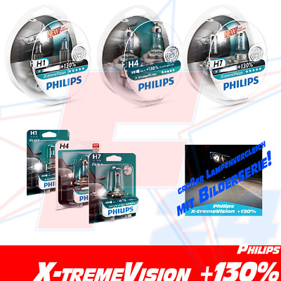 PHILIPS X-treme Vision +130% ALLE H1 H4 H7 XtremeVision DUO oder Blister