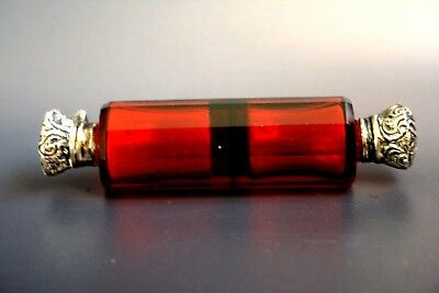 Antique Victorian Ruby Cut Glass Double Ended Scent Bottle With Silver Caps