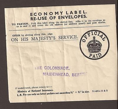 GB. Economy Label for re-use of envelopes. 1940's ?