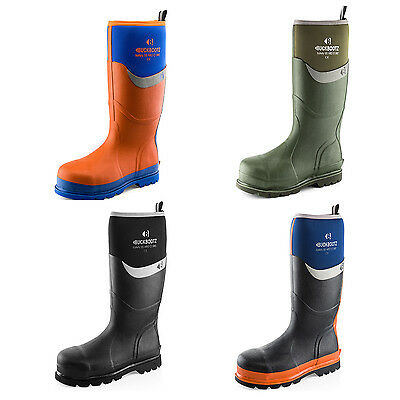Buckler Waterproof Safety Wellington Boots Black, Blue, Green or Orange Wellies