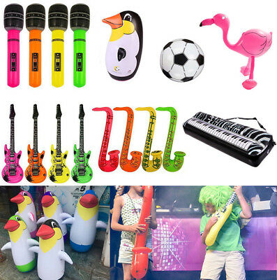 Inflatable Air Guitar Microphone Flamingo Blow Up Fancy Dress Birthday Party Toy