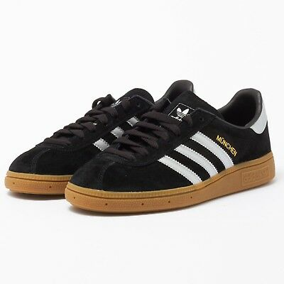Adidas Originals Munchen Trainers Black/ Silver Mens Uk Sizes 7 To 11