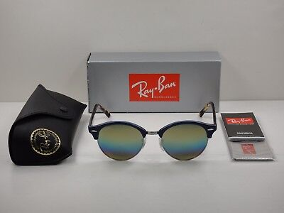 Ray-Ban Clubround Sunglasses Rb4246 1223C4 Blue gold Rainbow Flash Lens 51Mm 3025132e71
