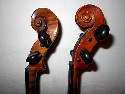 Antique Lot of 2 Old Vintage Full Size 2 Pc Back Violins - No Reserve