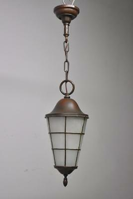 Antique  Handel Style Arts And Crafts Hall /Porch Pendant Glue Chip Glass&Copper