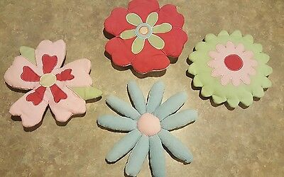 Girls Kids Baby Wall Nursery Room Decor Flower Lot Of 4 And Wallpaper Border