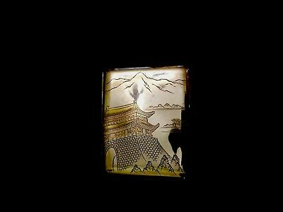 * Antique 950 Silver with gold gilt accents Japanese Etched Cigarette Case .