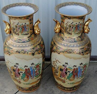 "OBO-SALE--PAIR OF LARGE SATSUMA ORIENTAL PORCELAIN VASES-VASE 35"" Reproductions?"