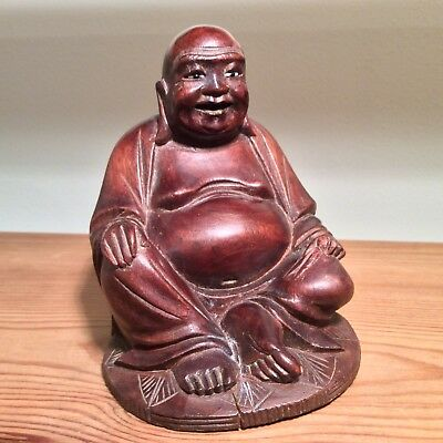 Collectable/Vintage Solid Wood Carved Seated Buddha Figurine
