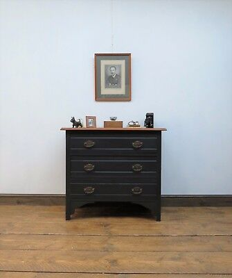 Small Painted Black Chest of Drawers bedroom storage Antique Satinwood Drawers