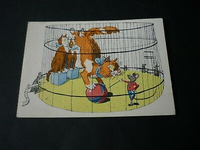 Russian Cat postcard, Circus Cage