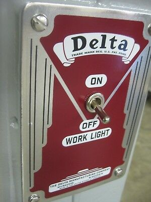 SWITCH PLATE DECAL -  Delta pedestal grinder - to control the twin work lights