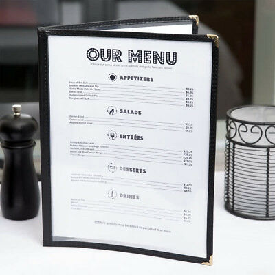 """(10-Pack) NEW 8 1/2"""" x 11"""" Black Vinyl Two Pocket Clear Menu Covers"""