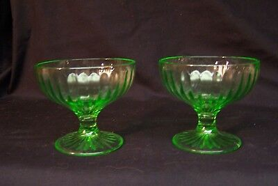 2 Vintage Vaseline Depression Glass Dessert Sherbet Dishes