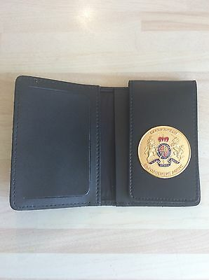 Leather ID Card Wallet With Certificated Enforcement Agent Badge