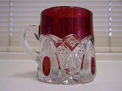 """Antique Ruby Flashed Top and Clear Glass Crystal """"Roseau"""" Mug 3 1/8"""" High"""