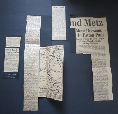 "WW2 NEWSPAPER CLIPPINGS ""GIs ARE PEEVED--PATTONS MEN GET UNDER WAY"""