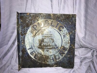 Vintage Bell System Public Telephone 2-Sided Flange Sign