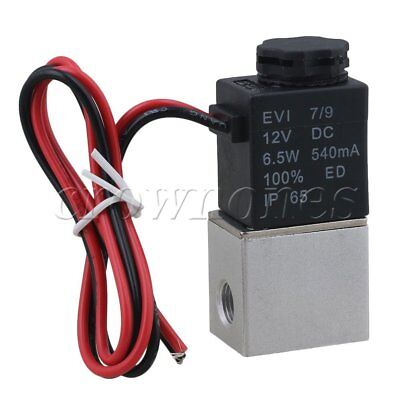 DC12V NO Pneumatic Aluminium Alloy Solenoid Air Water Valve 2-Way G1/8""