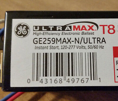 GE259MAX-N/ULTRA ballast 120/277V normal light level 2Lamp 8FT. T8's