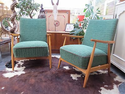 A Pair Of Green Vintage East German / Danish Style Lounge Armchairs C1970 J17-11